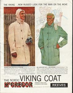"""1958 MCGREGOR SPORTSWEAR vintage magazine advertisement """"The Viking"""" ~ The Viking ... New Rugged Look For The Man On The Move - Rugged on location anywhere ... On location with """"The Vikings"""" - During the filming of """"The Vikings"""" at a remote Norwegian fjord, many members of the cast and crew depended on the McGregor Nordic Viking Coat to keep warm.  ~ Size: The dimensions of the full-page advertisement are approximately 10.5 inches x 13.5 inches (26.75 cm x 34.25 cm). Condition: This  ..."""
