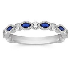 7/8 ct. t.w. Marquise Sapphire and Round Diamond Ring