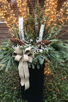 """TierraVerde recycled rubber planters are all-weather resistant and ideal for cold temperatures - will not crack in -40 degrees! We love this festive holiday arrangement by container designer Gretchen Hubbe in our estate-sized 36"""" Sonata planter! Layer birch branches with pine boughs, white winter berries, silvery eucalyptus and white bows to create a non-traditional color palette that extends beyond the holidays in into January and February! White Bows, Winter Berries, Birch Branches, Rubber Material, 40 Degrees, Recycled Rubber, Holiday Festival, Winter White, Timeless Design"""