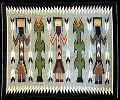 Navajo Yei Bi Chei Rug - Mae Johnson (#10) - Product Archives - Twin Rocks Trading Post Native American Rugs, Native American Symbols, Native American Crafts, Native American Design, Native American Artifacts, American Indian Art, Native American Beading, Southwest Quilts, Southwestern Art