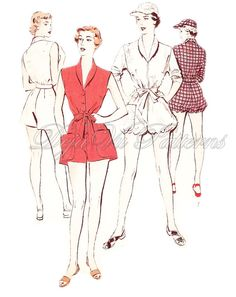 Butterick 5336 Vintage 1950s Playsuit Romper and Cap Sewing Pattern by DejaVuPatterns