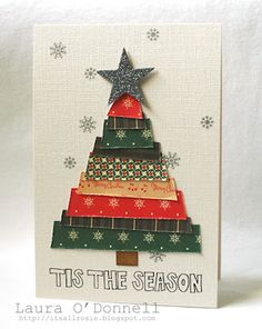 Love how Laura made her tree with strips! The words and snowflake are from the Magic of Christmas stamp set from TechniqueTuesday.com.