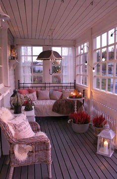 veranda with old windows.this would be nice on our screened in side porch. veranda with old windows.this would be nice on our screened in side porch. Enclosed Porches, Decks And Porches, Screened Porches, Back Porches, Country Front Porches, Sunroom Decorating, Enclosed Porch Decorating, Florida Decorating Ideas, Screen Porch Decorating