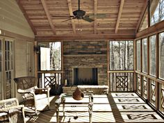 Wooden Screen Porch with Custom Fireplace