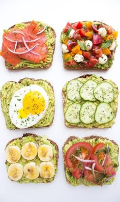 Easy and quick ways to top an avocado toast all with fresh ingredients for breakfast, lunch, or dinner! Easy and quick ways to top an avocado toast all with fresh ingredients for breakfast, lunch, or dinner! Think Food, Love Food, Healthy Snacks, Healthy Eating, Healthy Recipes, Clean Eating, Simple Healthy Breakfast Recipes, Recipes With Avocado, Easy Recipes