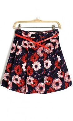 Flower print skirt X887. cute floral skirt