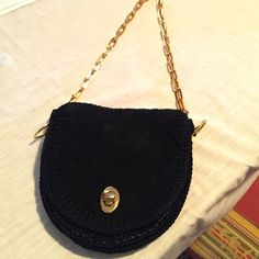 """☘Just In!  Vintage Italian Suede Handbag ☘Just In!  Vintage Italian Suede Handbag. Navy blue. Brand is Marcus.  Two pockets inside. Great gold chain strap. Size is: 8"""" x 8"""" bag. 2 inches wide. 14"""" drop. Excellent condition.  Color is dark navy blue. Almost looks black but lining is blue. Vintage Bags"""