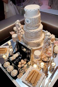 Gatsby-themed wedding cake and dessert table - love the use of shiny jewelry box to display the sweets Buffet Dessert, Dessert Bars, Dessert Tables, Great Gatsby Wedding, Glamorous Wedding, Wedding Bride, Wedding Ideas, Purple Wedding, Wedding Themes