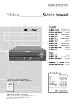 Service Manual - Grundig VIVANCE GV 3000 VPS/1 - Video cassette recorder Technical Documentation, Page Number, Cassette Recorder, Electronic Devices, I Site, Manual, Electronics, Free, Textbook