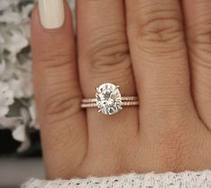 Moissanite Engagement Ring Set Wedding Engagement Rings White Gold Moissanite Ring with Matching Band - Fine Jewelry Ideas Wedding Rings Simple, Wedding Rings Solitaire, Wedding Rings Vintage, Rose Gold Engagement Ring, Bridal Rings, Wedding Jewelry, Wedding Bands, Oval Engagement, Simple Rings