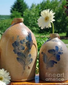stoneware with blue flowers