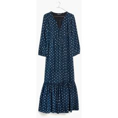 MADEWELL Silk Medallion Dot Maxi Dress ($178) ❤ liked on Polyvore featuring dresses, coin black sea, frilly dresses, madewell dresses, polka dot dress, flounce dress and maxi dresses