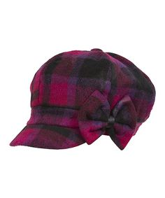 Look what I found on #zulily! Plum & Fuchsia Plaid Bow Newsboy Cap by Magid #zulilyfinds