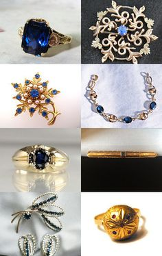 Sapphires - Natural and Faux from Etsy's Vintage Jewelry Team by moonbeam0923 on Etsy--Pinned with TreasuryPin.com