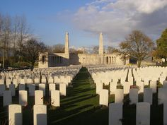 The cemetery at Vis en Artois. Susan and David Whybrew's youngest son William died in action in October 1918 and was buried here. World War One, First World, Young Henrys, Next Of Kin, Hundred Days, Stone Pillars, Joining The Army, Marriage Certificate, Prisoners Of War