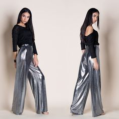 COSMIC SILVER WIDE-LEG PANTS  --- Add a little stardust to your step with the Cosmic Silver Wide-leg Pants! Everyone will do a double take when you walk by. Sleek metallic woven fabric constructs a wide-leg pants that fall from a high, fitted waist. Hidden side zipper // Smooth fabric Tailored High waistband // Side zipper closure // Wide-leg // Regular fit - true to size Double Take, Walking By, Trousers Women, Wide Leg Pants, Cosmic, Woven Fabric, Harem Pants, Metallic, Smooth