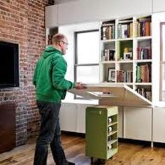 Movable office/craft space - this is fantastic for a tiny space.