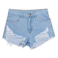 Ripped Off Denim Shorts with Razor Wire Style Rips at Hemline-AZURE-XS ($24) ❤ liked on Polyvore featuring shorts, azure, distressed shorts, jean shorts, torn jean shorts, ripped denim shorts and denim short shorts