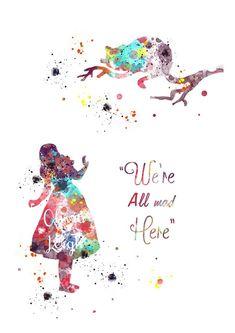 ALICE IN WONDERLAND Art Print Wall Art Watercolour Canvas Gift 3 Sizes