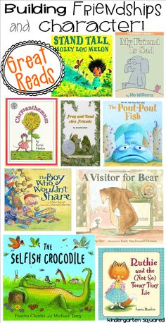 good books for teaching kids about friendship.  [www.kindergartensquared.blogspot.com]