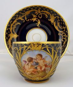 Magnificent Antique KPM Royal Berlin Tea Cup Saucer