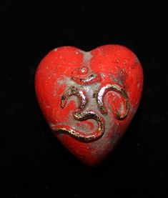 Small Red and Gold Om Mantra Heart Ceramic by Rafael Pineda Mexican Folk Art