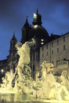 Bernini's Fontana del Moro, c.1650, on the Piazza Navona, Rome