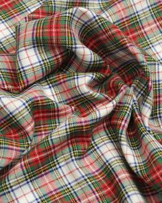Brushed Cotton Fabric   Red & Green Tartan   Truro Fabrics