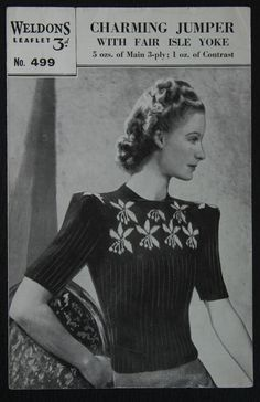 Weldons Knitting Pattern 499, Lady's Jumper with Fair Isle Yoke (Peggy Chester modelling)