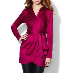 HP Rachel Zoe Jacquard Wrap Tunic Beautiful and bold magenta jacquard snake print stretch silk woven tunic. Pleated and gathered at shoulders, V-neck, gathered at elasticized waist, removable tie belt at waist, tonal top stitching, panel seaming. Wrap front with exterior button and interior button to close . Dry clean only (91% silk and 9% spandex shell). Worn twice - dry cleaned after each wear! Rachel Zoe Tops Tunics