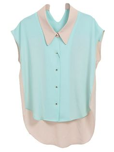 Nude and aqua shirt Colour Blocking Fashion, Color Blocking, This Is Your Life, Old Shirts, Beige, Blue Blouse, All About Fashion, Blue Tops, Shirt Blouses
