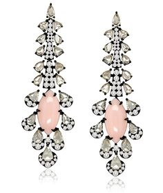 Cellini Jewelers Sutra Jewels Elongated Coral Drops Elegant and unique, this pair features carats of coral surrounded by carats of rose cut and round brilliant diamonds. Set in 18 karat blackened gold. Bold Jewelry, Coral Jewelry, High Jewelry, Gemstone Jewelry, Vintage Jewelry, Jewelry Design, Fashion Jewelry, Lotus Jewelry, Stone Earrings