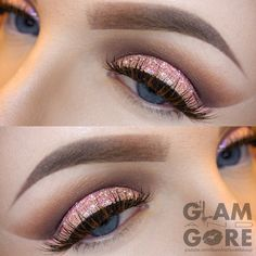 Soft Romantic Cut Crease with Pink glitter.  For more makeup looks and tutorials: www.instagram.com/Mykie_      www.youtube.com/GlamAndGoreMakeup