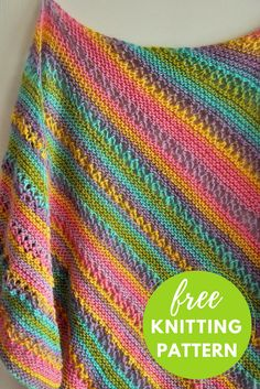 Gina Ridged Shawl Free Knitting Pattern using colorful Plymouth Gina striping yarn.