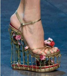 Find More Women's Sandals Information about 2016 designer luxury birdcage sandal metal wedges cut out heel sandal 3D flowers heel ankle strap sandals very high platfom heel,High Quality sandals beige,China sandals fish Suppliers, Cheap sandals american from angle's step Store on Aliexpress.com
