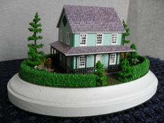 Green Cottage Furnished Dollhouse Property 1:144 Scale