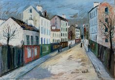 paris, france | Street in a Suburb of Paris - Maurice Utrillo - WikiPaintings.org