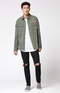 Military Long Sleeve Button Up Shacket