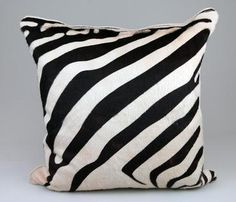 Zebra Embossed Cowhide Pillow with Flax Color 100% Linen Back and Down Fill Also Available in Other Sizes: 23