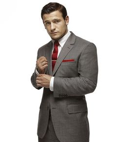 Shop this look for $186:  http://lookastic.com/men/looks/tie-and-dress-shirt-and-pocket-square-and-blazer-and-dress-pants/1537  — Red Tie  — White Dress Shirt  — Red Pocket Square  — Grey Blazer  — Grey Dress Pants