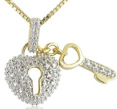 A charming gift of love for her to treasure.  The heart lock and key is a traditional symbol of love.  The 18k gold over sterling silver pendant is embellished with a diamond accent and rhodium plated surface in providing a rich two tone appearance.