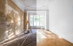 apartment renovation - empty room before and after refurbishment or restoration - Buy this stock photo and explore similar images at Adobe Stock Service A Domicile, Apartment Renovation, Planning Permission, Empty Room, Tile Installation, Bathroom Renovations, Better Homes, Restoration, Flooring