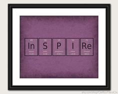 Periodic Table Word Poster - Inspire - Wall Art Print - Available as 8x10, 11x14 or 16x20    **Get your nerd on with posters that are perfect for