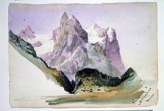 "John Singer Sargent (American, 1856–1925). Wellhorn and Wetterhorn from Brunig (overleaf) (from ""Splendid Mountain Watercolours"" Sketchbook), 1870. The Metropolitan Museum of Art, New York. Gift of Mrs. Francis Ormond, 1950 (50.130.146b recto)"