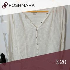 Lucky Brand Cream peasant top Cream colored cotton peasant top with buttons and detail at the bottom. Perfect for spring or fall. Lucky Brand Tops Blouses