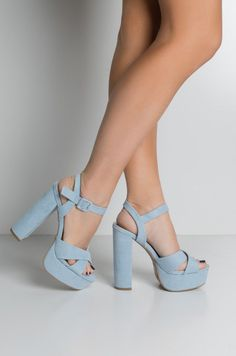 Faux suede platform sole adjustable ankle strap high chunky heel peep toe sandals in baby blue - Heels Lace Up Heels, Pumps Heels, Stiletto Heels, High Heels, Platform Heel Sandals, Chunky Heel Platform Sandals, Sandal Heels, Strappy Sandals, Fancy Shoes