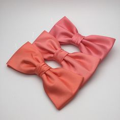 Men Bow Tie Coral Salmon Pink Bow tie Satin Plain Solid BowTie for Wedding Groom Groomsmen Men Boy Kid Baby Shower Bow tie Gift Present by GloiberryBowtie on Etsy https://www.etsy.com/listing/268297274/men-bow-tie-coral-salmon-pink-bow-tie