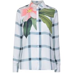 Ted Baker Tryna Floral Check Blouse (€140) ❤ liked on Polyvore featuring tops, blouses, long sleeve blouse, collar top, floral print top, ted baker and collared blouse