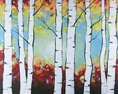 """Social Artworking Canvas Painting Design - Birch Trees The white trunks on the birch trees make them stand out in the forest. This uniqueness lends itself well to artwork for your home. The leaves in this version are done in fall colors, but you could easily use shades of green to create a spring or summer painting. Swap the designs out as the year progresses for simple seasonal decor.  CANVAS SIZE:  16"""" x 20""""  TIME TO PAINT:  approximately 2 hours 30 minutes"""