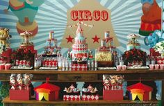 Tema para festa de menino - Circo - A maioria das crianças adoram o circo, não é mesmo? É um universo cheio de magia, encanto e diversão. Justamente por isso pode render um bom tema para aniversário! Mais uma vez você pode dar um toque vintage na decoração para ficar bem legal e diferente!